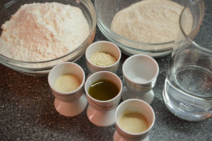 All dry ingredients for burger buns