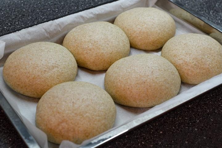 Burger buns daugh on baking pan