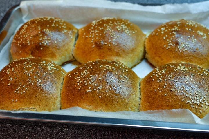 Baked homemade burger buns