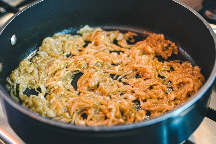 Caramelized onions into a pan