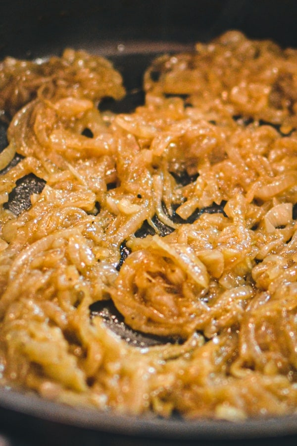 Caramelized onions macro view