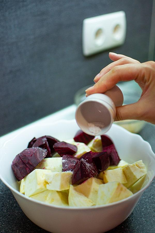 Seasoning with salt celery and beet