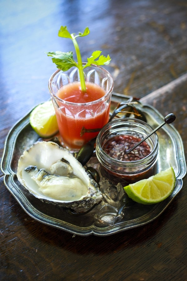 Bloody Mary Oyster Shooters with Raw Oysters and a Shallot Mignonette