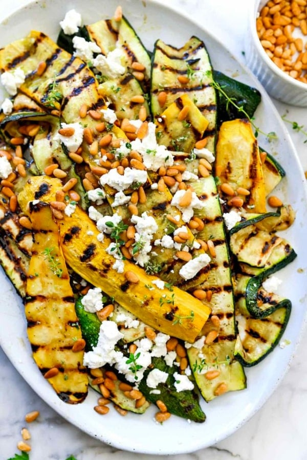 Grilled Zucchini With Goat Cheese And Pine Nuts