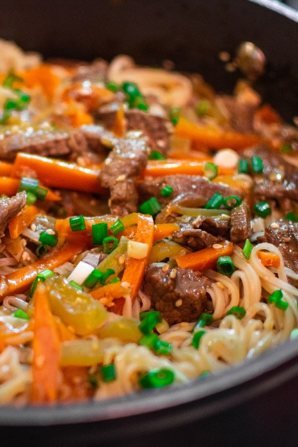 Mix of asian rice noodles with meat, vegetables and seasame seeds and tails of green onions.