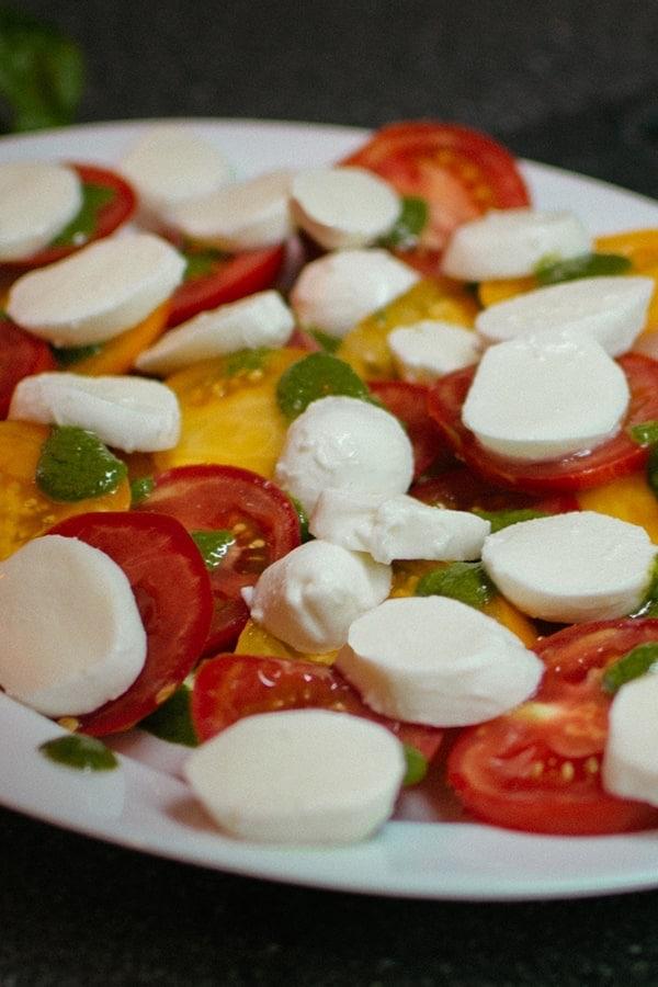 Caprese salad with mozzarella and fresh tomatoes.