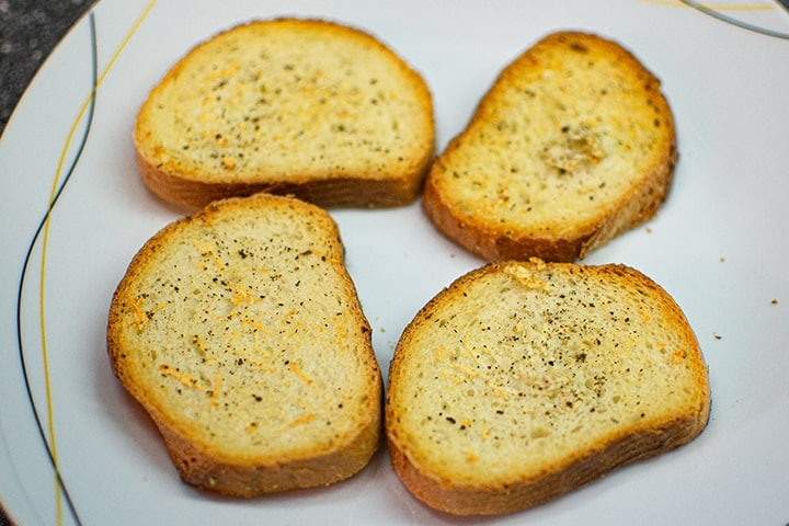 Grilled bread on a plate