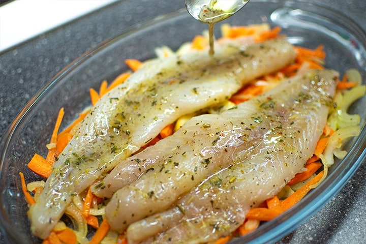 Marinated fish fillet with vegetables