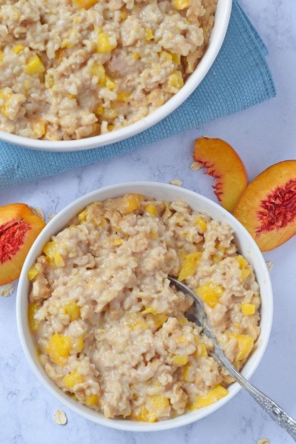 Peaches and Cream Instant Pot Oatmeal Recipe