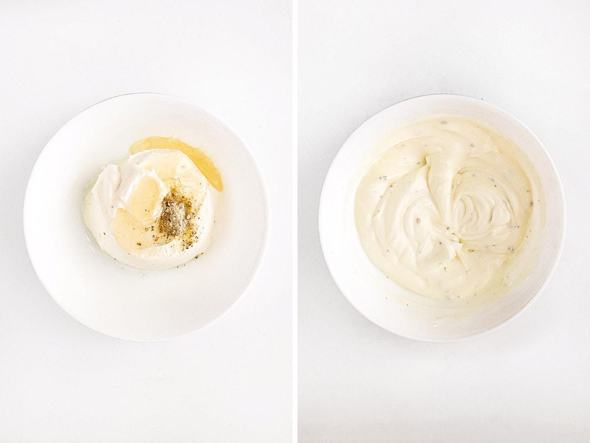White yogurt sauce for the carrot fries.