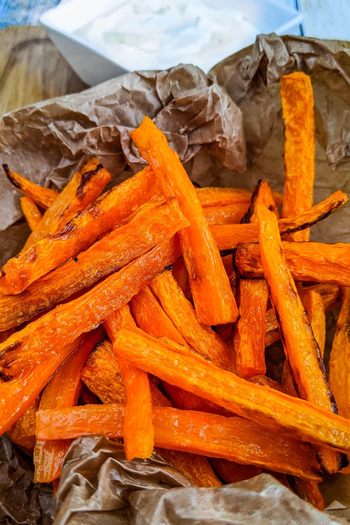 Carrot Fries served with white sauce.